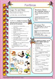 English Worksheet: for/since
