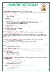 English Worksheets: COMMON MISTAKES IN ENGLISH