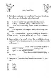 English Worksheets: Adverbs of Time