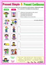 English Worksheet: Present Simple and Present Continuous (2) - a communicative approach