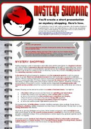 English Worksheet: Create a Presentation on Mystery Shopping (ESP Business English for Market Researchers)