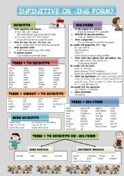English Worksheet: INFINITIVE OR -ING FORM? (PART 1/2)