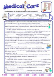 English Worksheet: Medical Care - Reading Comprehension and Vocabulary