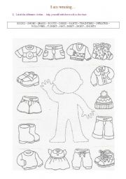English Worksheet: Clothes / I am wearing (2 pages)