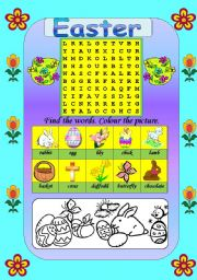 English Worksheet: Easter wordsearch and colouring (B/W version included)
