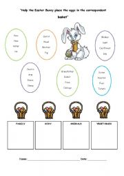 English Worksheet: Help the easter bunny place the eggs in the correspondent basket