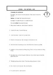 English worksheets: Either / or - Neither / nor