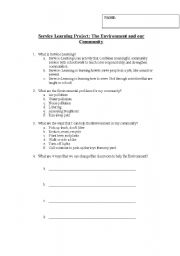 English Worksheets: Service Learning Pretest