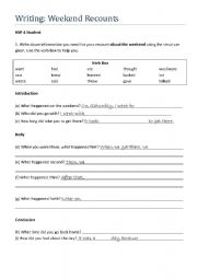 English Worksheets: Writing Recounts Part III