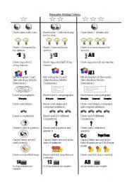 English Worksheets: Writing Criteria