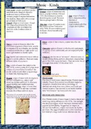 English Worksheets: musical kinds