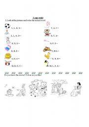 English Worksheets: easy words beginning writing
