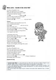 English Worksheet: Elton John - Candle in the wind (1997)