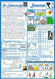 English Worksheet: Soccer: Reading Comprehension+ A crossword Game+ A  matching Task (+Key)