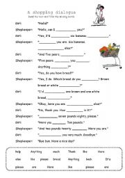English Worksheet: A shopping dialogue