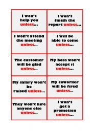 English Worksheet: Unless Cards
