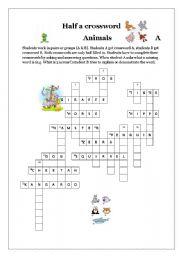 English Worksheets: Half a crossword