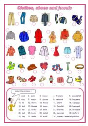 English Worksheet: Clothes, shoes, jewels elementary (editable)