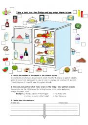 English Worksheet: There is/there are in the fridge