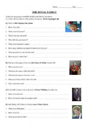 English Worksheet: British royal family