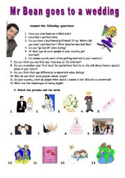 English Worksheet: Mr Bean goes to a wedding - VIDEO SESSION (7:17)