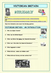 English Worksheets: Websearch: Victorian Britain