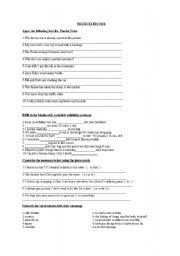 English worksheet: mixed exercises