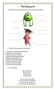 English Worksheets: Body Parts with videos