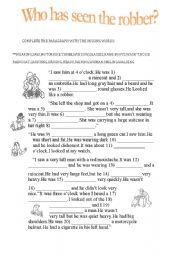 English Worksheets: Who has seen the robber?