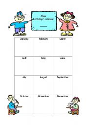 English Worksheets: Class Calender