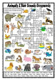 English Worksheet: Animals and Their Sounds Crosswords
