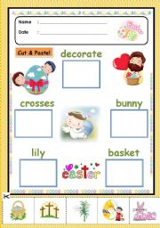 English Worksheet: Easter Cut and Paste [easter activity 1/5]