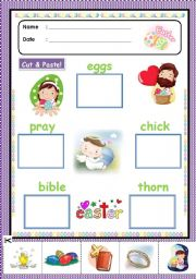 English Worksheet: Easter Cut and Paste [easter activity 2/5]