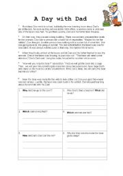 English Worksheets: A Day with Dad