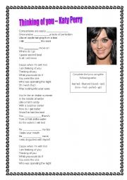 English Worksheets: Song - Katy Perry - Thinking of you
