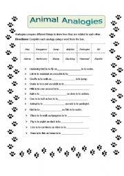 English Worksheets: Animal Analogies