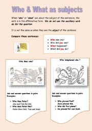 English Worksheets: Who & what as subjects