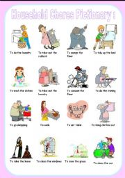 English Worksheets: household chores pictionary
