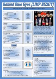 English Worksheets: SONG!!! Behind Blue Eyes [LIMP BIZKIT] - Printer-friendly version included