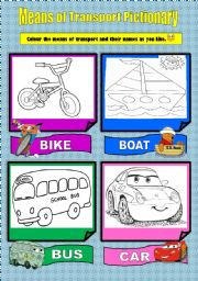 Means of Transport Pictionary