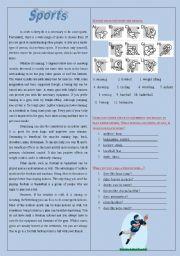 english teaching worksheets sports reading. Black Bedroom Furniture Sets. Home Design Ideas