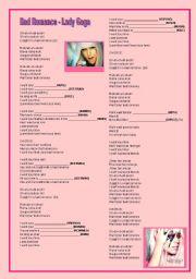English Worksheet: Bad Romance - Lady Gaga