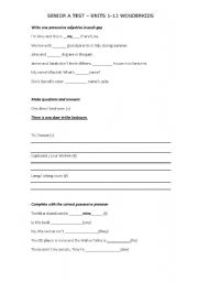 English worksheets: Test for 8-10 year olds - Present Simple