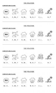 worksheet weather words to complete