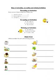 English Worksheet: Invitations: Extending, Accepting and Refusing