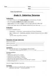 English Worksheet: Oral presentation or preparation for a sketch show