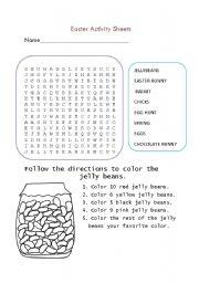 English Worksheet: Easter Activity Sheets- Editable!!