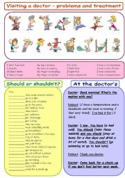 English Worksheet: Visiting a doctor - problems and treatment