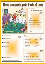 English Worksheet: There are monkeys in the bedroom