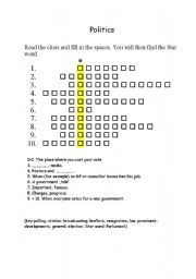 English Worksheet: Politics crosswords